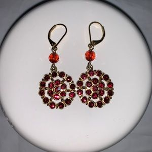 Red Crystal Gold Toned Medallion Earrings
